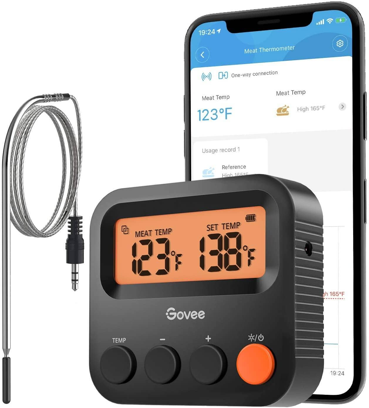 Govee Wireless Grill Thermometer w/ 230ft Remote Monitoring, Backlight and App Alerts for $16.99 + Free Shipping w/ Prime