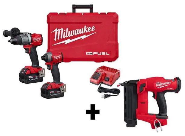 Milwaukee M18 Fuel 18Ga Brad Nailer, Hammer Drill, and Impact Driver $380.77