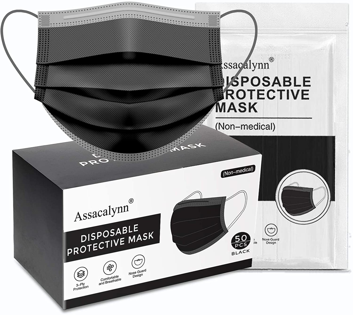 50 pcs Assacalynn 3 Layer Disposable Safety Face Mask (Black) - $5.28 + FS order on $25 at SpecialDaytime via Amazon