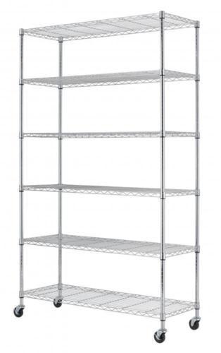 "$54.99 Commercial 82""x48""x18"" 6 Tier Layer Shelf Adjustable Wire Metal Shelving Rack 76"