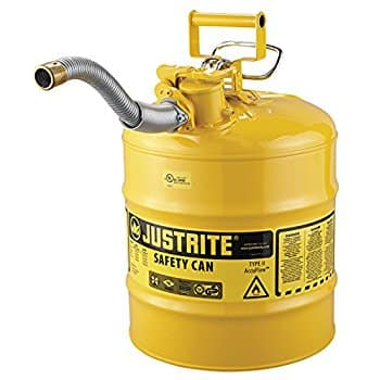 "$45.99  Justrite 7250230 AccuFlow 5 Gallon, 11.75"" OD x 17.50"" H Galvanized Steel Type II Yellow Safety Can With 1"" Flexible Spout"