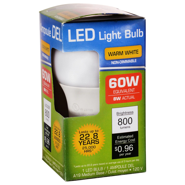 Warm White 60-Watt Equivalent Medium Base LED Light bulbs   FREE In-Store Pickup $1