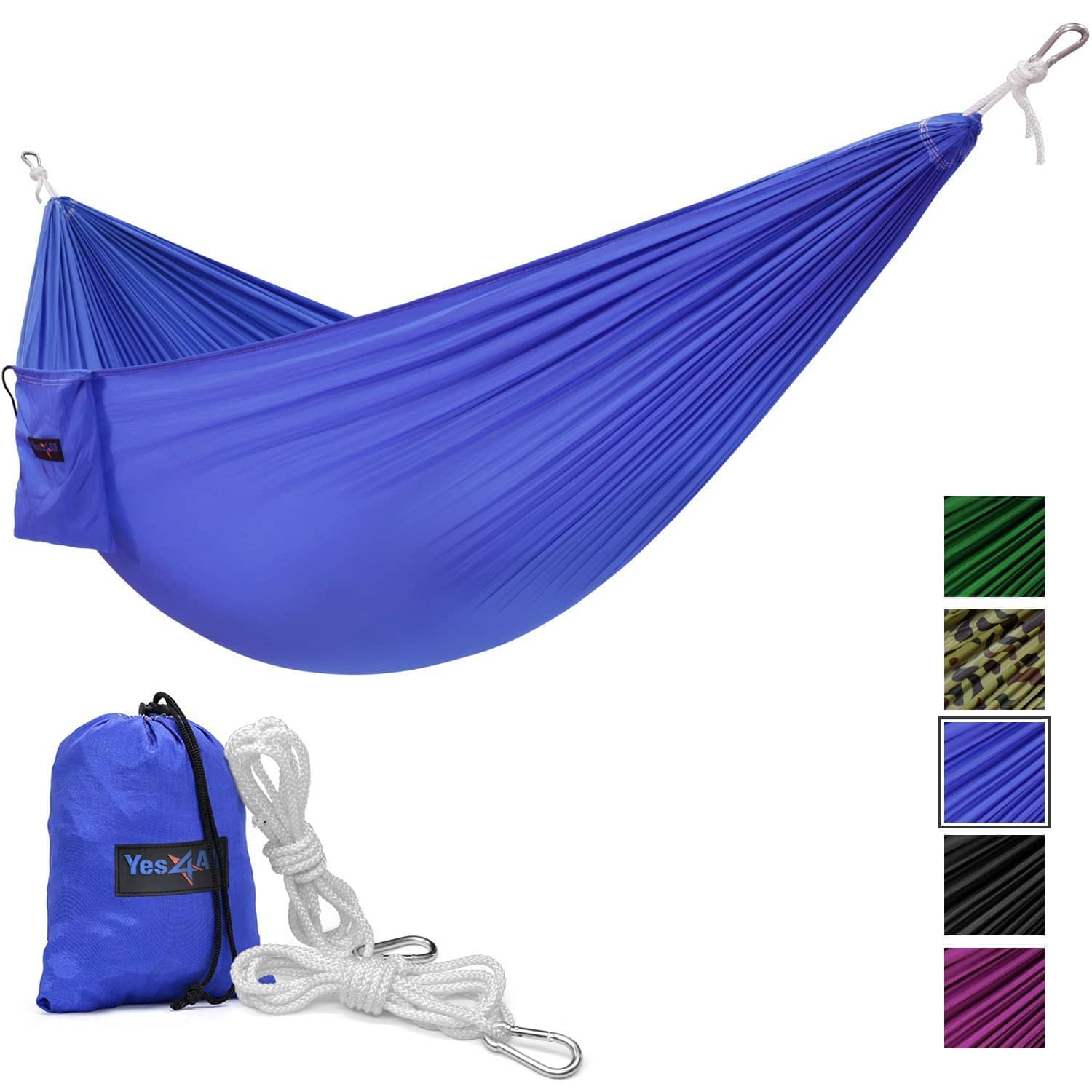 Lightweight Nylon Camping Hammock with Carry Bag, Blue - $7.99/Prime