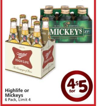 Miller high Life or Mickey's four 6 packs for $5 Friday August 9 Albertsons YMMV at Albertons