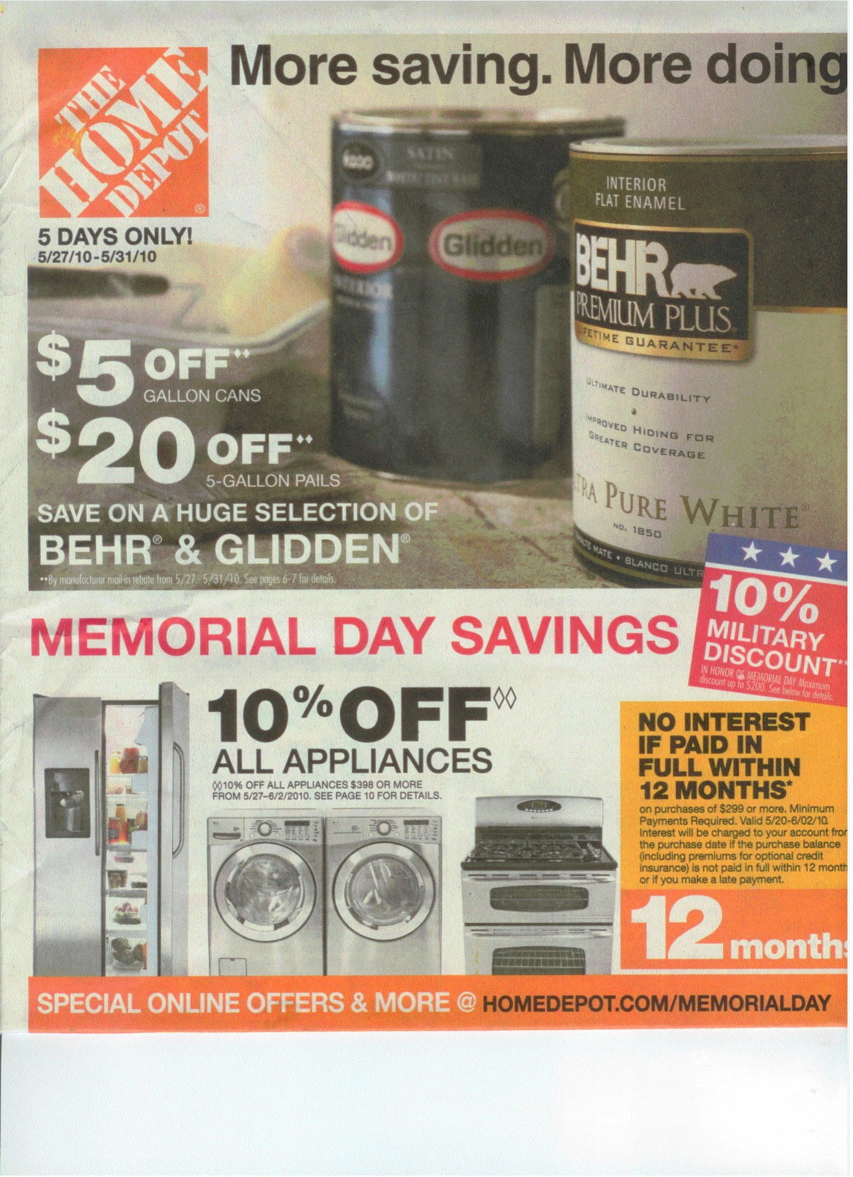 Home depot memorial day ad is out for Home depot memorial day paint rebate
