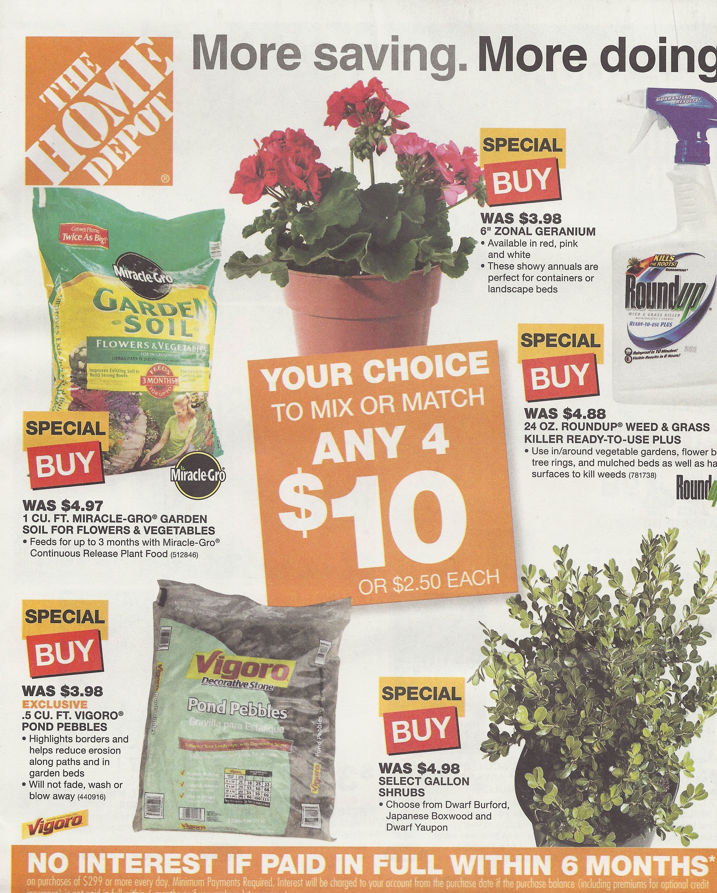 Home Depot 4/$10 Garden Sale, Roundup, Soil, Plants Starts 2/24