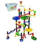 Marbulous Modular Marble Run w/82 Pieces Plus 50 Marbles Total of 132 Pieces + Safe Reusable Plastic Bucket For $49.95 @ Amazon