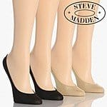 4 Pairs Women's Steve Madden No-Show Footies - Black & Nude For $7.00 + Free Shipping