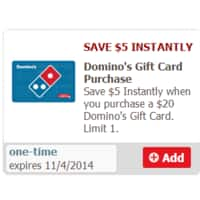 Genuardis.com Deal: Save $5 Instantly when you purchase a $20 Domino's Gift Card - Safeway YMMV