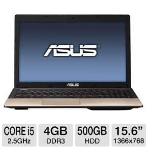 "Asus K55A-BI5093B Laptop: Core i5 3210M 2.5GHz, 4GB DDR3, 500GB HDD, 15.6"" 1366x768 LED, Intel HD 4000, WiFi N, 6-cell, Win 7 Prem $400 after $50 rebate + Free Shipping"