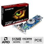 Gigabyte Radeon HD 6450 512MB GDDR3 PCI Express Low Profile Video Card (GV-R645D3-512I)