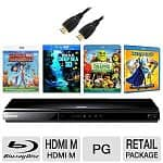 Samsung BD-D6100 3D Blu-ray Player (Refurbished) + 6' HDMI Cable + Cloudy with a Chance of Meatballs 3D + IMAX: Deep Sea 3D + Megamind 3D + Shrek Forever After Blu-rays