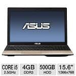 "Asus K55A-BI5093B Laptop: Core i5 3210M 2.5GHz, 4GB DDR3, 500GB HDD, 15.6"" 1366x768 LED, Intel HD 4000, WiFi N, 6-cell, Win 7 Prem"