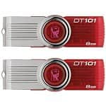 2-pack 8GB Kingston DataTraveler 101 G2 USB 2.0 Flash Drive (DT101G2/8GBZ)