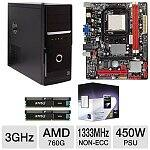 Biostar A780L3B 760G AM3 Motherboard + Phenom II X4 945 3GHz Quad Core Processor + 8GB (2x4GB) Corsair XMS3 DDR3 1333 Desktop Memory + Thermaltake Case w/ 450W Power Supply