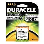 4-pack Duracell Rechargeables StayCharged AAA Batteries $5.50, Duracell Mini Charger with Two AA Pre-Charged Rechargeable Batteries