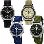 Men's Seiko 5 Canvas Strap Automatic Stainless Steel Watch (various colors)