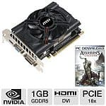 MSI GeForce GTX 650 1GB GDDR5 PCI Express 3.0 Video Card (N650-MD1GD5/OC) + Assassin's Creed III PC Download
