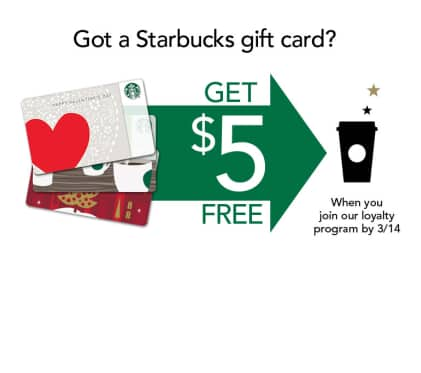 Free $5 Credit with First-Time Card Registration ~ New Starbucks Rewards Accounts Only ~ Feb 28 - Mar 14, 2013
