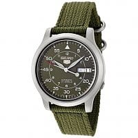 Rakuten Deal: Seiko 5 Men's Military Automatic Watch w/ Canvas Strap (Green or Blue)