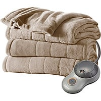 Walmart Deal: Sunbeam Heated Plush Electric Blanket in Mushroom (Twin)