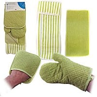 13deals.com Deal: 4-Piece Microfiber Kitchen Set: Pocket Mitt, Oven Mitt, Kitchen Towel and Dish Cloth $3.99 with free shipping
