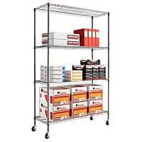 eBay Deal: 4-Shelf Alera Complete Wire Shelving Unit w/ Casters (Black/Anthracite) $66.99 with free shipping [Currently $91 at Amazon]