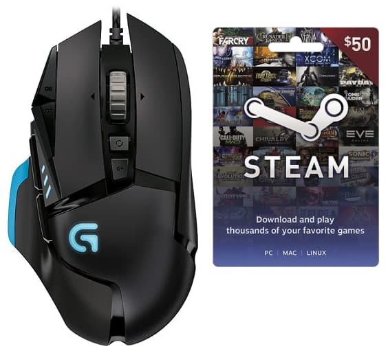 Logitech G502 Proteus Core Optical Gaming Mouse + $50 steam wallet card + free shipping $79.99