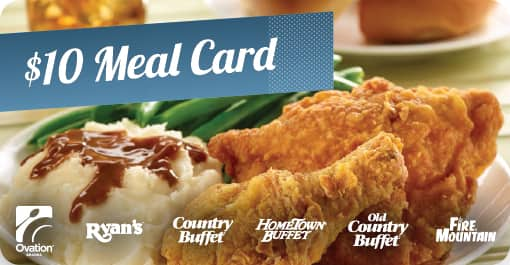 It's Back! 40% Off Ryan's®, HomeTown® Buffet, Country Buffet®, Old Country Buffet® or Fire Mountain® Gift Cards at sweetjacks