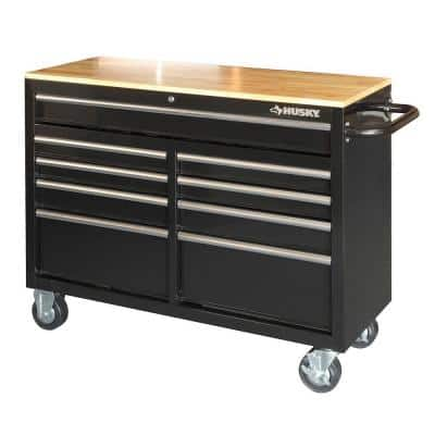 "Husky 46"" 9-Drawer Mobile Workbench w/ Solid Wood Top  $199 + Free Store Pickup"