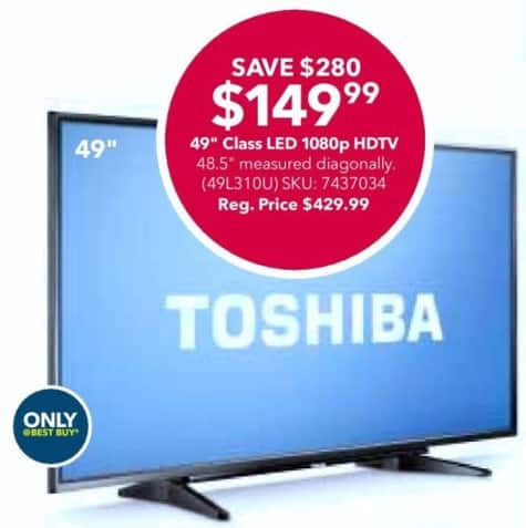 "Best Buy Black Friday: 49"" Toshiba 49L310U 1080p LED HDTV for $149.99"