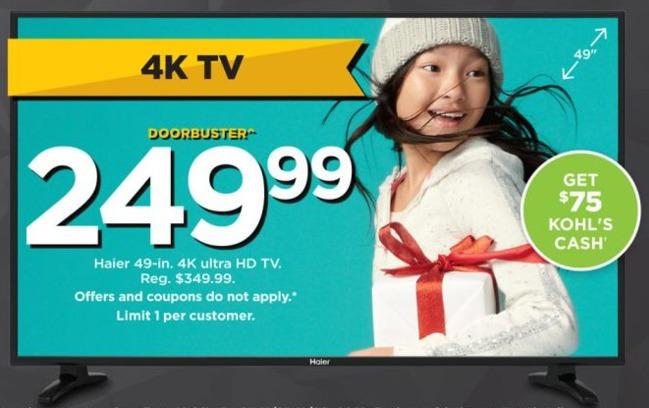 """Kohl's Black Friday: 49"""" Haier 49UF2500 4K LED HDTV for $249.99"""