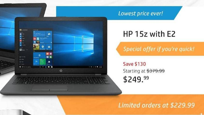 HP Black Friday: HP 15z Laptop: AMD Dual-Core E2-9000e, 4GB RAM, 1TB HDD, Win 10 Home for $249.99