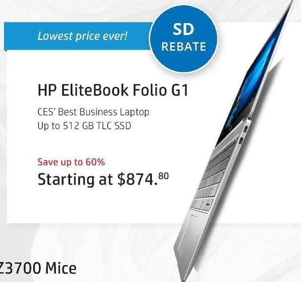 "HP Black Friday: HP EliteBook Folio G1 Laptop: Intel Core M (6th Gen), 8GB RAM, 128GB SSD, 12.5"" Display, Win 10 Pro for $749.80 after $125 rebate"