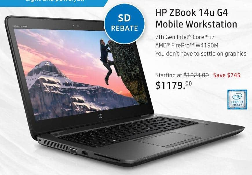 """HP Black Friday: HP Zbook 14u G4 Mobile Workstation: Intel i5 (7th Gen), 8GB RAM, 500GB HDD, 14"""" Display, Win 10 Pro for $1,004.00 after $175.00 rebate"""
