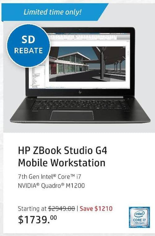 "HP Black Friday: HP ZBook Studio G4 Mobile Workstation: Intel i7 (7th Gen), 8GB RAM, 512GB SSD, 15.6"", Win 10 Pro for $1,564.00 after $175 rebate"