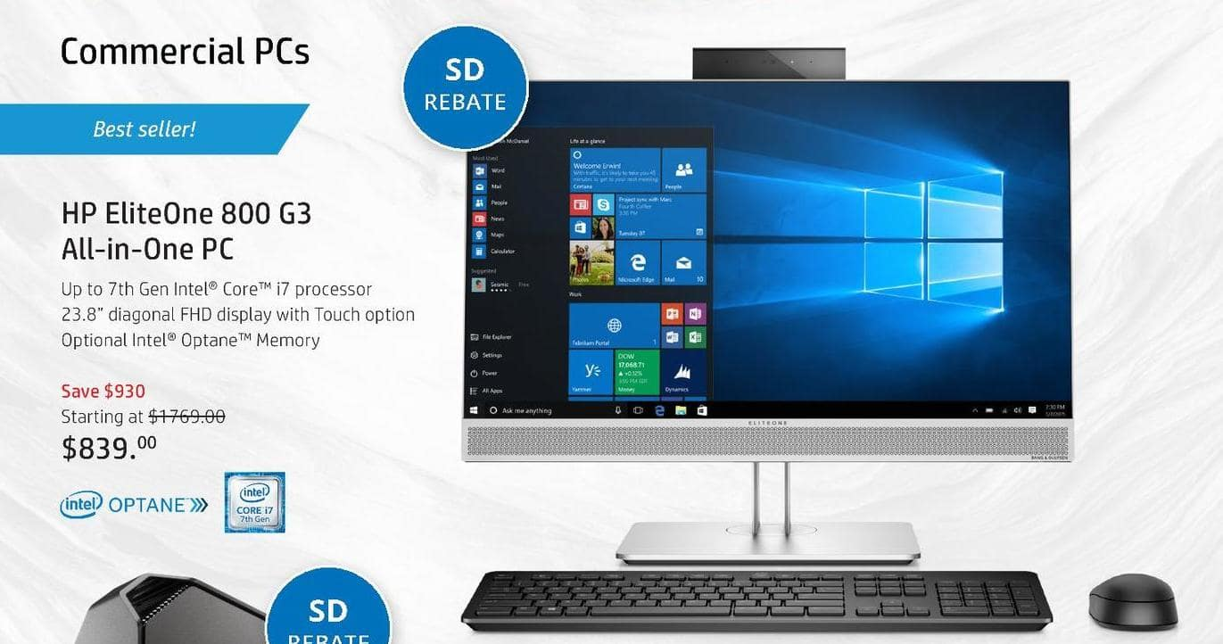 "HP Black Friday: HP EliteOne 800 G3 All-In-One PC: Customize Up To Intel i7 CPU (7th Gen), Up To 32GB RAM, 23.8"" Display - starting at $714 after $125.00 rebate"
