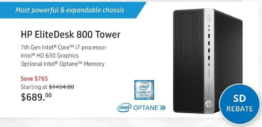 HP Black Friday: HP EliteDesk 800 G3 Tower, Customizeable - starting at $639 after $50 rebate