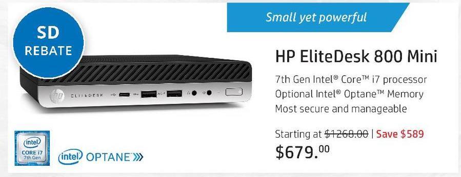 HP Black Friday: HP EliteDesk 800 Mini - starting at $629 after $50 rebate