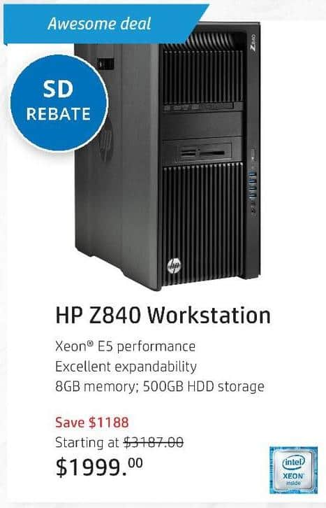 HP Black Friday: HP Z840 Workstatin, Inel Xeon Processor - starting at $1824 after $175 rebate