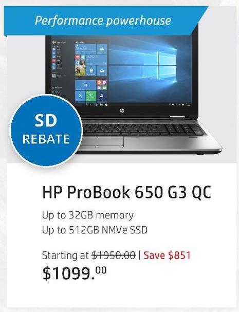 HP Black Friday: HP ProBook 650 G3 QC Laptop - starting at $924 after $175 rebate