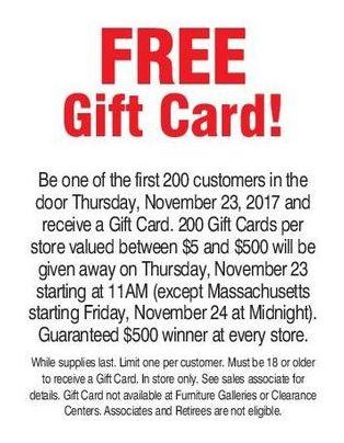 Bon-Ton Black Friday: Bonton Gift Card Giveaway: First 200 Customers Thursday 11/23 - $5 - $500 Bonton Gift Card