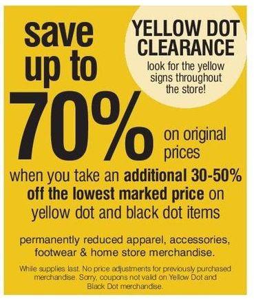 Bon-Ton Black Friday: Yellow Dot Clearance - Extra 30-50% Off