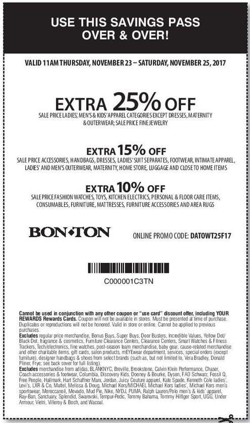 Bon-Ton Black Friday: Savings Pass: Sale Price Accessories, Handbags, Dresses, Ladies Suit Separates, Footwear, Intimate Apparel and More - Extra 15% Off