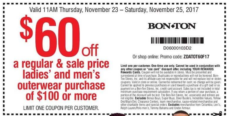 Bon-Ton Black Friday: Men's and Women's Regular and Sale Price Outerwear Purchase of $100 or More - $60 Off