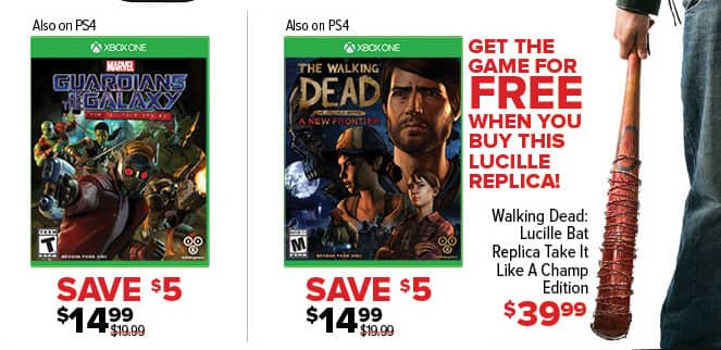 GameStop Black Friday: Walking Dead Lucille Bat Replica Take It Like A Champ + Free Walking Dead Telltale Series A New Frontier Game for $39.99