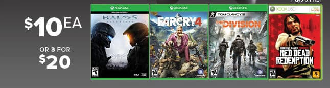 GameStop Black Friday: (3) Select Xbox One Games: Farcry 4, Halo 5 Guardians, Red Dead Redemption, Tom Clancy's The Division for $20.00
