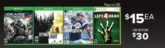 GameStop Black Friday: (3) Select Xbox One Games: Gears of War 4, Dying Light, Madden NFL 17, Left 4 Dead for $30.00