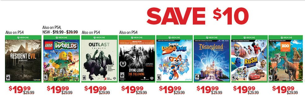 GameStop Black Friday: Select Xbox One Games: Resident Evil 7 Biohazard, Lego Worlds, Outlast Trinity, Dying Light The Following and More for $19.99