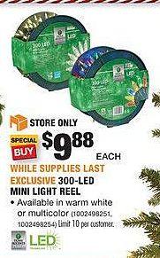 Home Depot Black Friday: 300-LED Mini Light Reel for $9.88